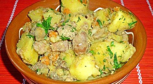Картошка с куриной печенью рецепт с фото