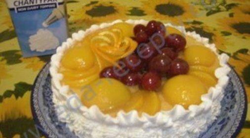 Бисквитный торт с фото с фруктами