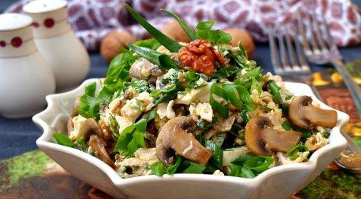 Салат с сыром курицей и шампиньонами с фото